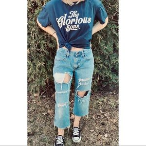 VINTAGE RUSTLER distressed cropped straight jeans